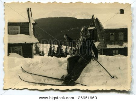 Vintage photo of young skier (1951)