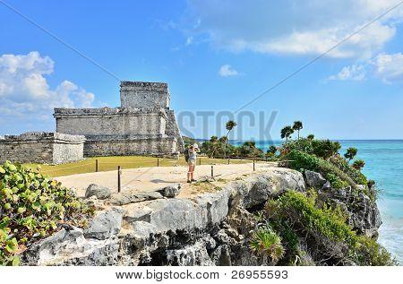 Tourist visiting Tulum Mayan ruins, Mexico