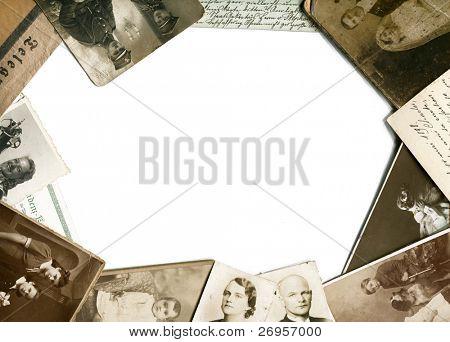 Vintage photos and postcards frame