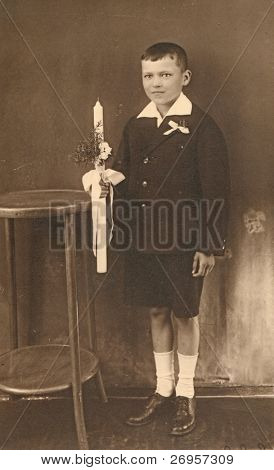 Vintage photo of boy - First Communion, twenties