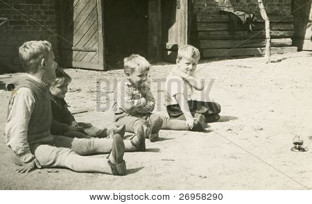 Vintage photo of children playing outdoor (fifties)