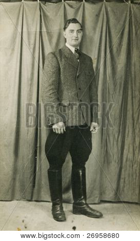 Vintage photo of man in breeches (forties)