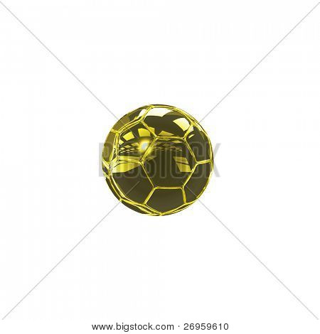 A perfect isolated golden soccer ball.