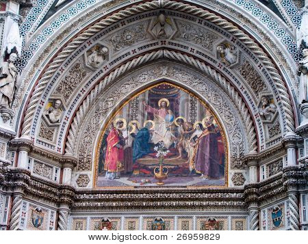 Famous wall painting on the entrance of Florence Cathedral Dome.