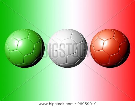 An illustration of 3 soccer balls with the italian flag's colors.