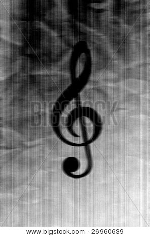 Treble clef on creased antiqued paper with film grain noise added.