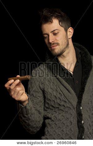 Man Looking At A Cigar
