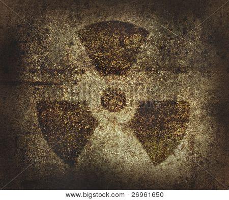 Símbolo de área radioativa enferrujado