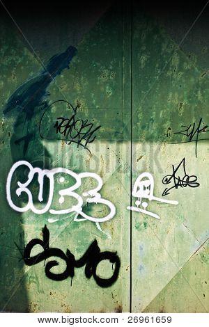 Graffiti on a metal door