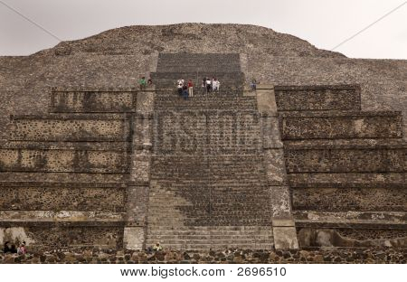 Walking Up Stairs Moon Pyramid Mexico