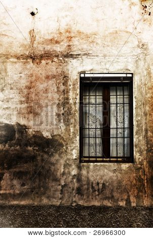 Very grungy old window