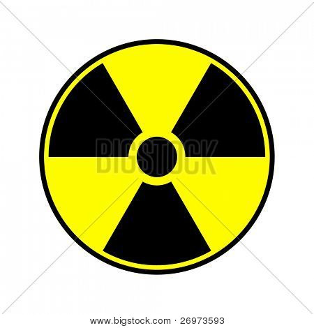 Radioactive round sign isolated on white