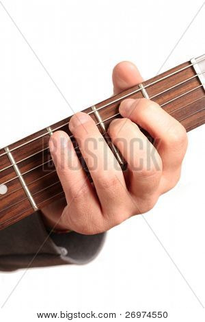 Close up of an electric guitar neck being played. Isolated against white background.
