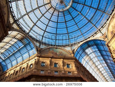 The famous gallery in Cathedral square in Milan, built in the honor of King Vittorio Emanuele II from Giuseppe Mengoni