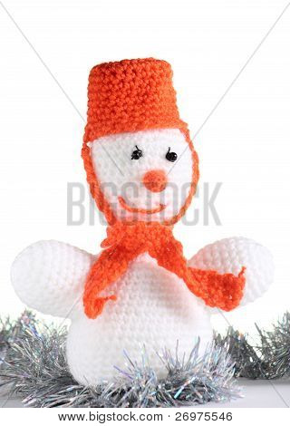 Happy Snowman At The White Background