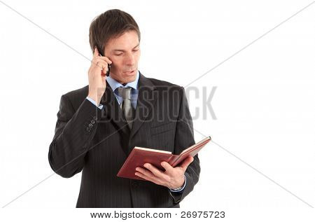 Businessman talking on a mobile phone while reading his agenda