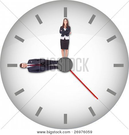 A clock with businesspeople instead of hour and minute hands. Isolated on white.