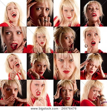 Collage of various facial expressions.
