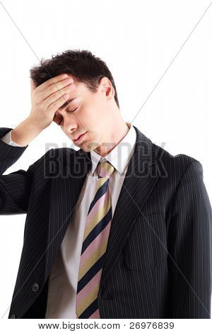 Portrait of a worried and stressed businessman who has forgotten something. Isolated on white.