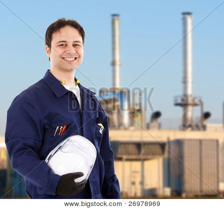 Portrait of a young handsome worker