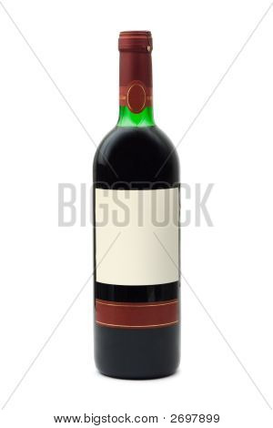 Bottle Of Wine With Empty Label