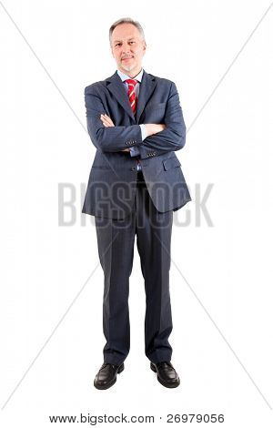Elder businessman full length isolated on white