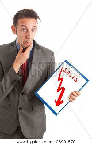 Funny businessman showing a disastrous business graph
