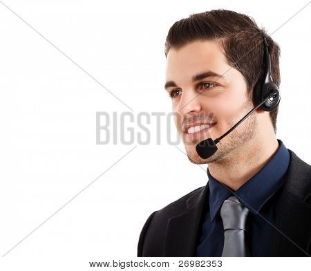 Portrait of a young happy phone operator.