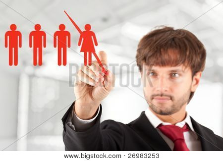 Business concept: manager firing a female worker