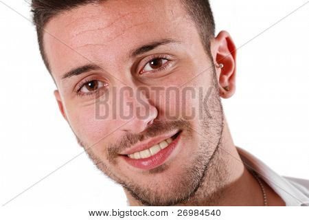 Portrait of a young smiling man. Isolated on white