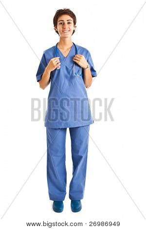 Young nurse full length portrait
