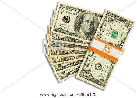 American Money Fanned Out With A Bundle Of One Dollar Bills On Them.