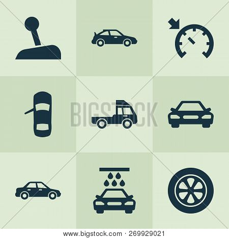 Car Icons Set With Car
