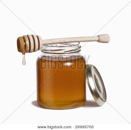 Honey pot and dipper. Honey drop and dipper.