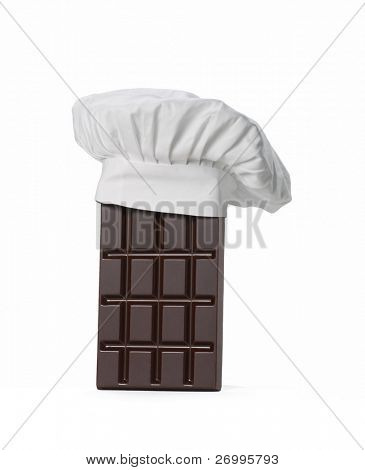 One chocolate bar .  One chocolate bar with chef cap.