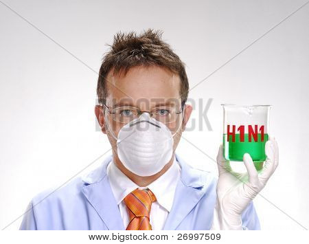 A scientist holding an experimental swine flu glass. A doctor holding an experimental glass.