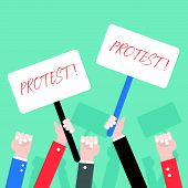 Many Hand With Protest Sign, Protester Concept, Vector Illustration poster