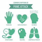 Common Symptoms Of Panic Attack And Panic Disorder. Medicine Infographic For Brochures And Magazines poster
