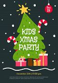 Kids Christmas Party Invitation Template. Flat Cartoon Illustration With Christmas Tree, Gifts And F poster