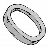Silver Ring. Vector Illustration Circle, Ring. Hand Drawn Silver Ring Icon. poster