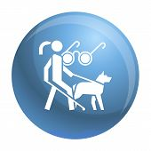 Woman Blind Dog Guide Icon. Simple Illustration Of Woman Blind Dog Guide Vector Icon For Web Design  poster