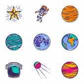 Space Universe Icon Set. Hand Drawn Set Of 9 Space Universe Vector Icons For Web Design Isolated On  poster