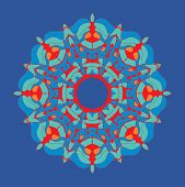 Colorful Mandala-chakra Flower-like Oriental Ornament In Tibetian-color Style On Dark Background. poster