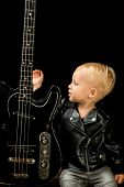 Sometimes Music Is All You Need. Rock And Roll Music Performer. Adorable Music Fan. Small Musician.  poster