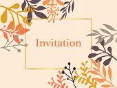 Invitation Card With Hand Drawn Autumn Fall Leaves. Vector Illustration. Season Lettering Illustrati poster