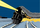 Steam Train Travelling At Night poster