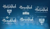 Vector Illustration Set Of Happy Hanukkah. Judaism Symbol. Hanukkah Logo For Greeting Card Template poster
