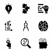 Find Solution Icon Set. Simple Set Of 9 Find Solution Vector Icons For Web Design Isolated On White  poster