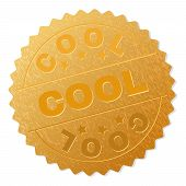 Cool Gold Stamp Award. Vector Gold Award With Cool Text. Text Labels Are Placed Between Parallel Lin poster