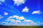 Beautiful Clouds Above The Horizon . Summer Landscape. poster